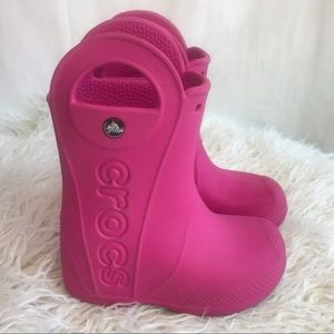 Crocs Make a Splash Pink Slip On Rain Boots